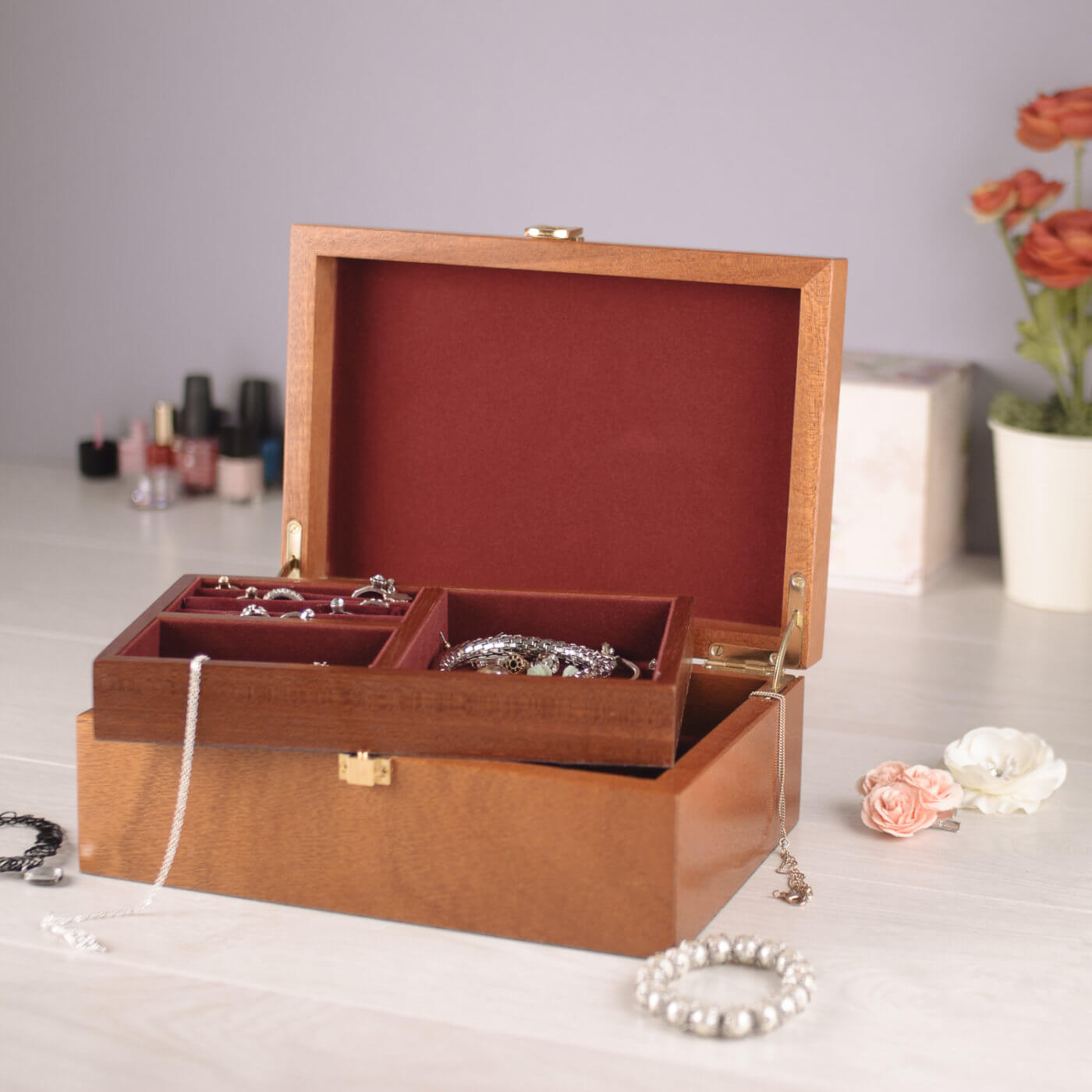 Makers Tiswood jewellery box product photograph with accompanying jewellery props