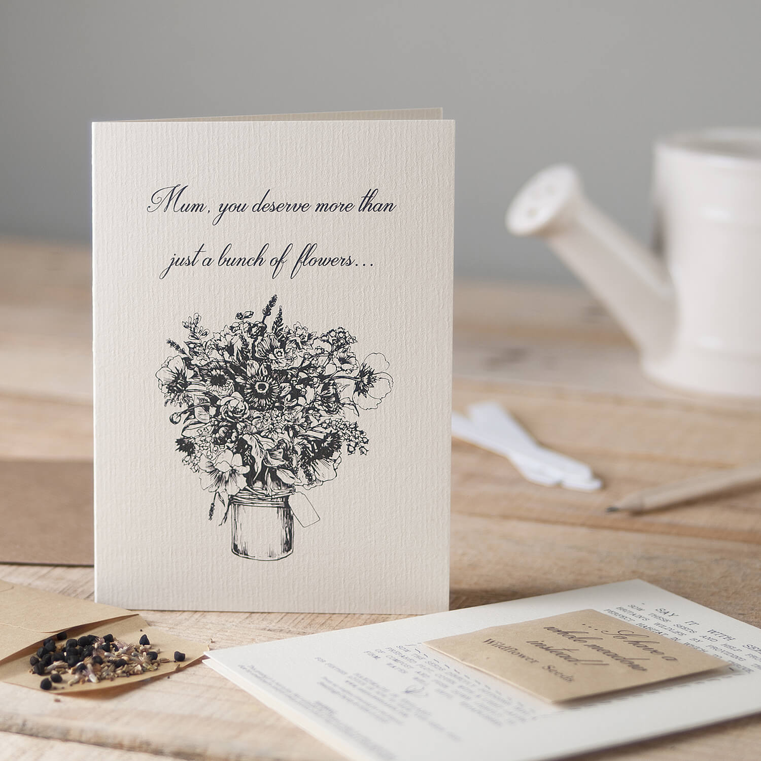 Rustic greetings card setting for this product by Seedlings Card and Gifts