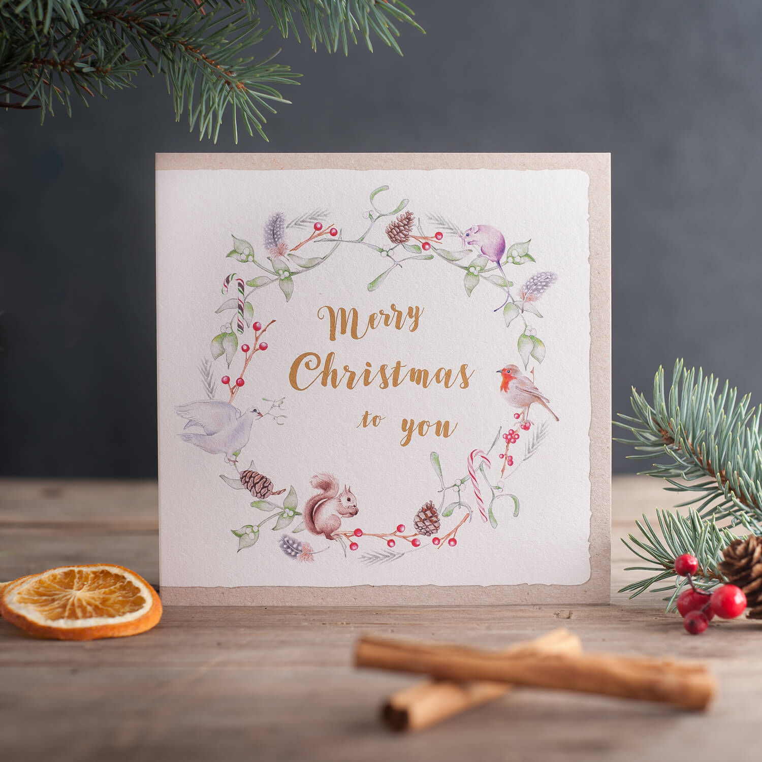 Deckled Edge greetings card designer Christmas card product photograph