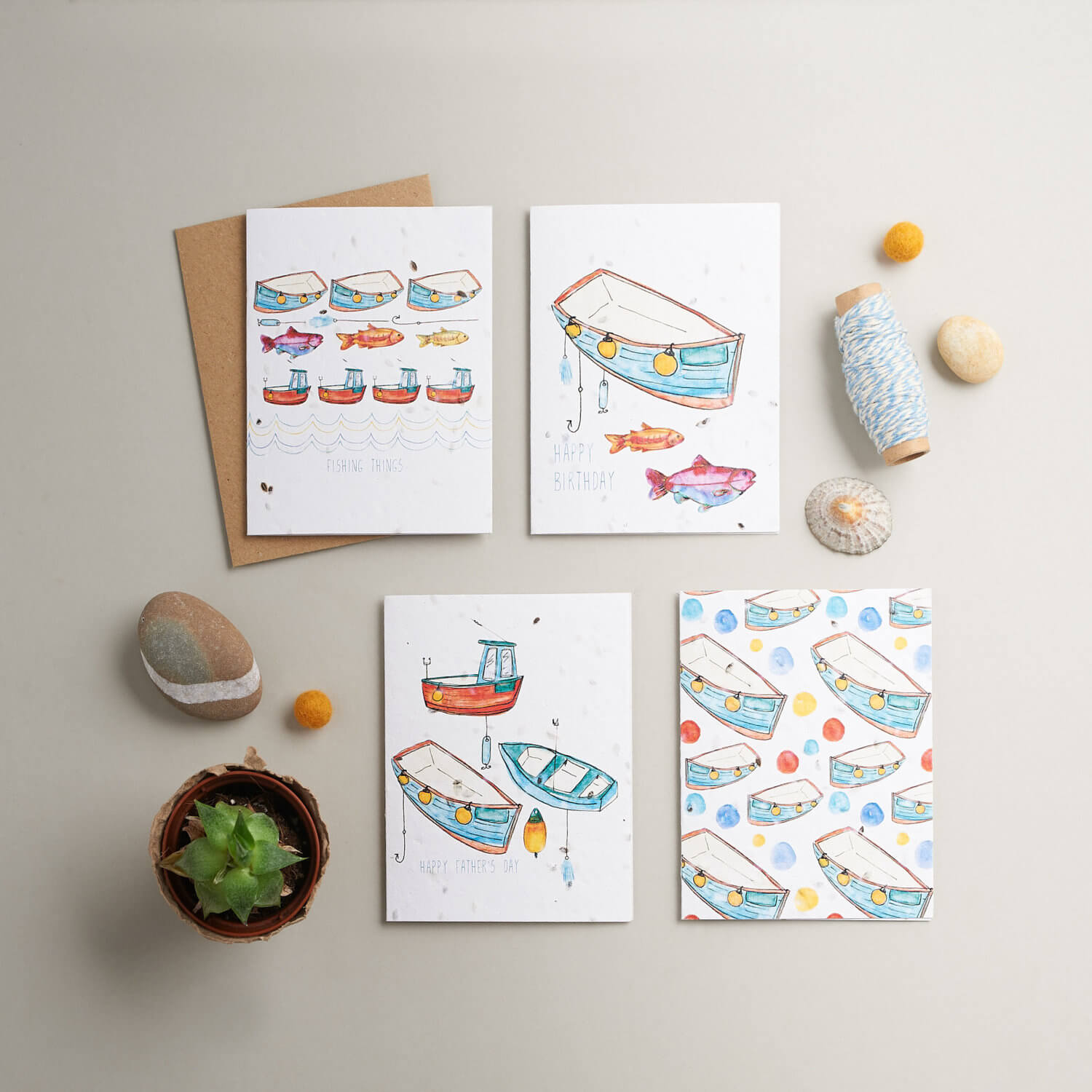 Gradient lit square product photography of coastal theme cards by designer Hannah Marchant