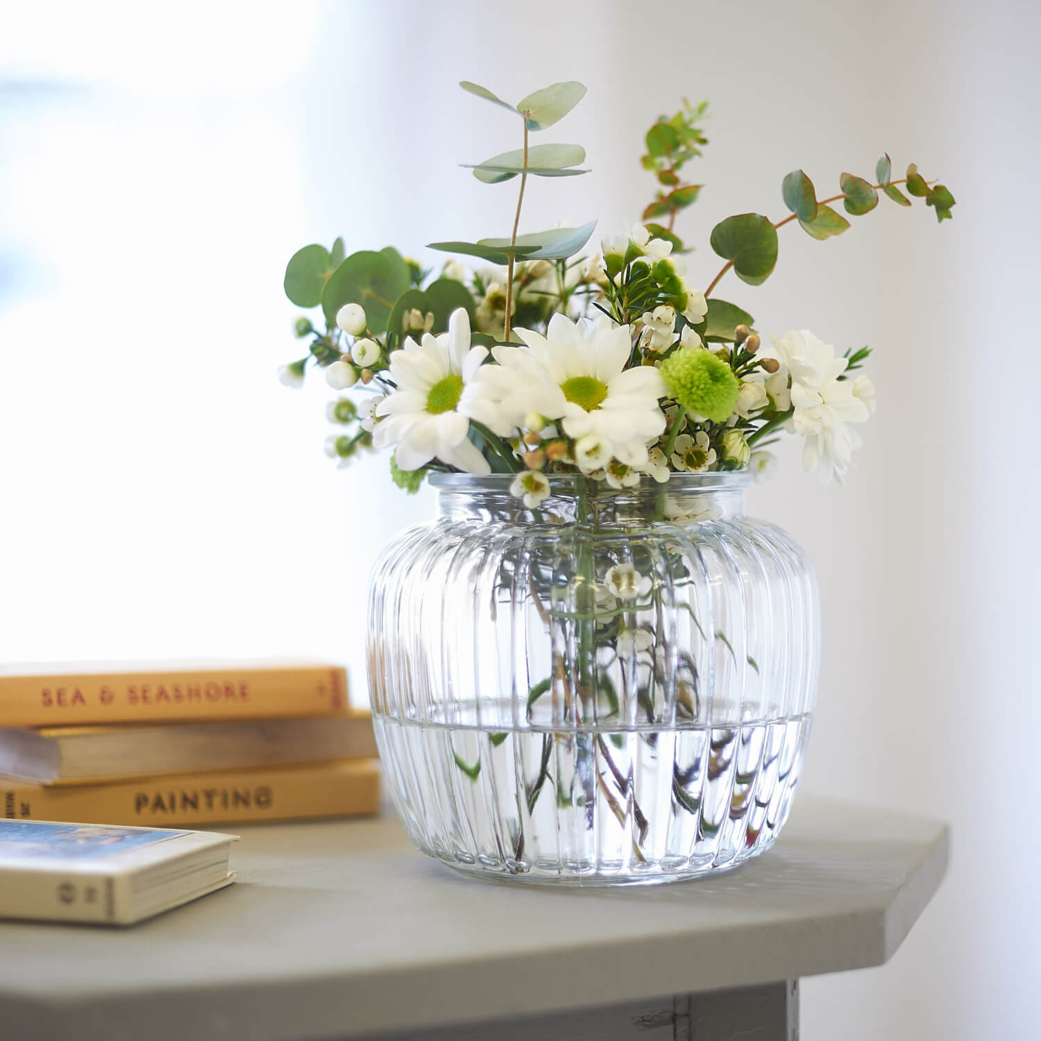Product photography with Observer books and window behind