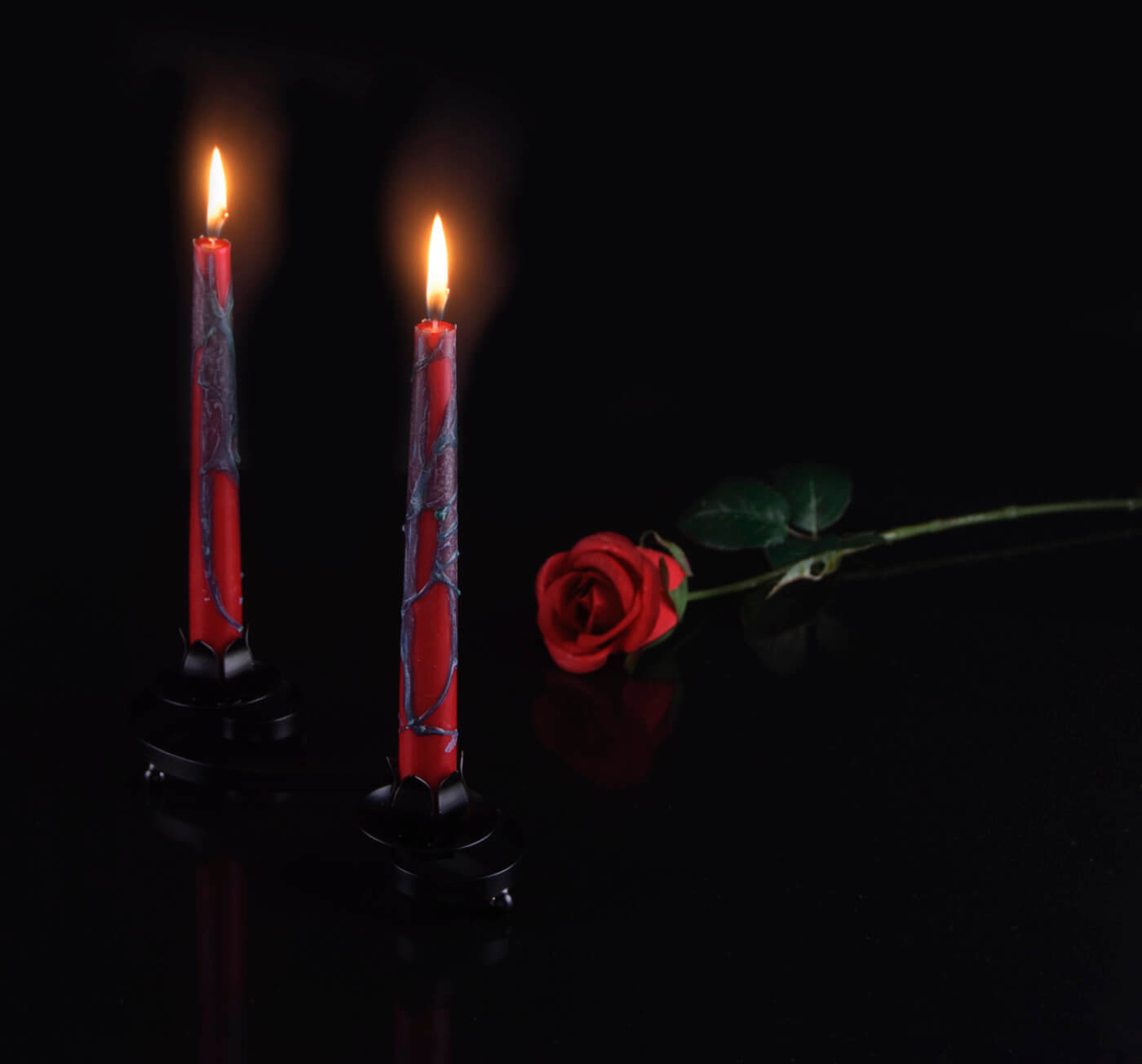 Gothic product photograph of handmade candles