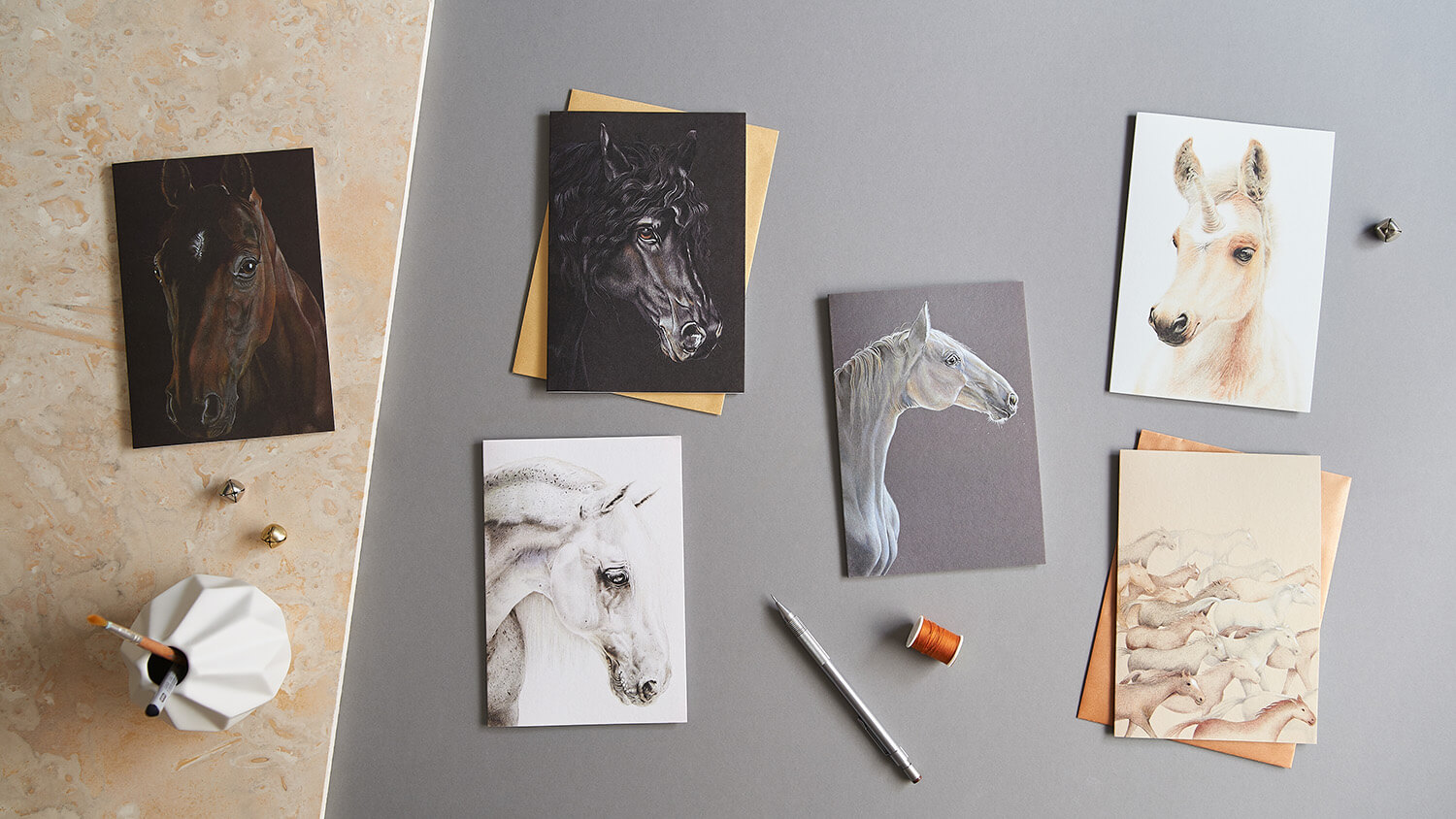 Overhead flatlay product photograph of Equestrian cards