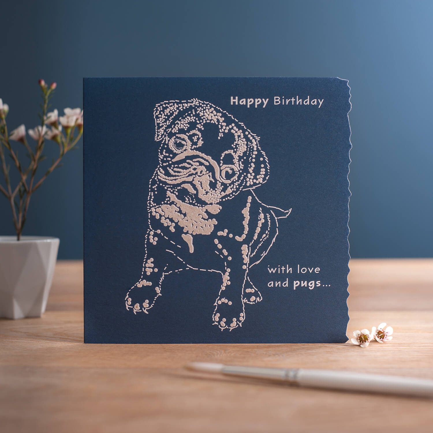 Single product photograph of greetings card including minimal props