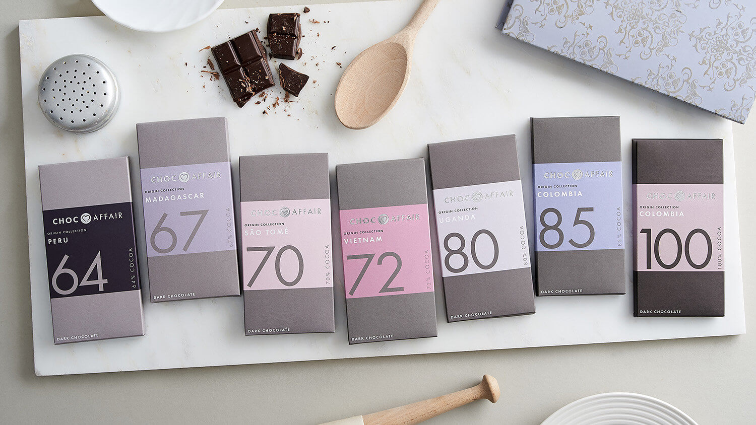 Brand product photography for chocolate maker Choc Affair styled with appropriate props