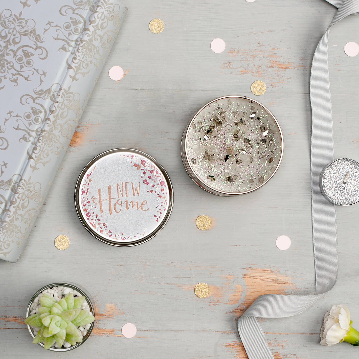 Overhead flatlay type photography of scented candle