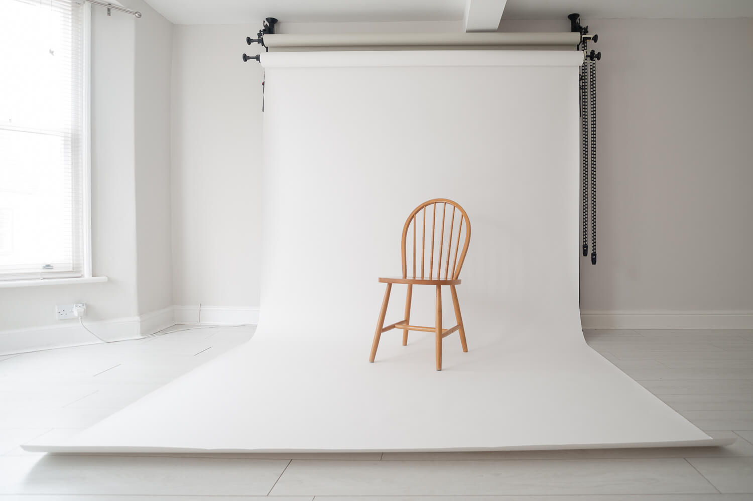 White background photography on sweep of vintage chair