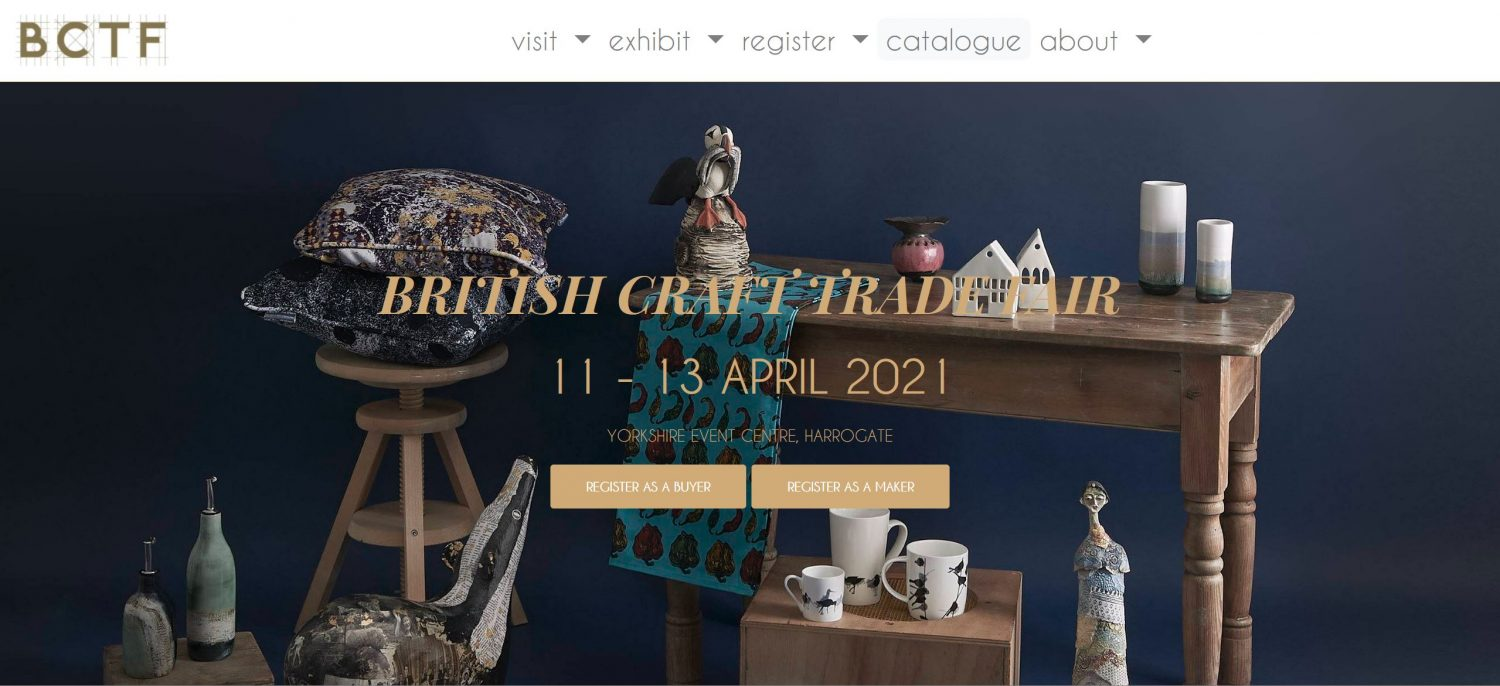 A screengrab taken from the British Craft Trade Fair homepage with one of our images shown