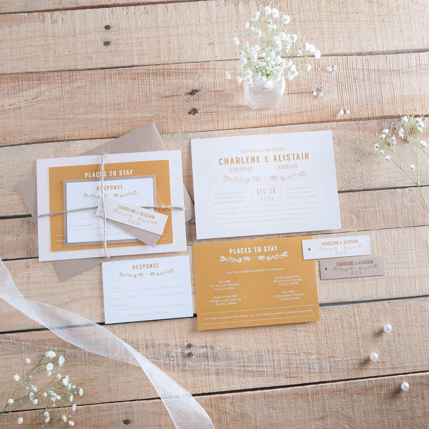 Old pallette used as a background for this wedding stationery photography
