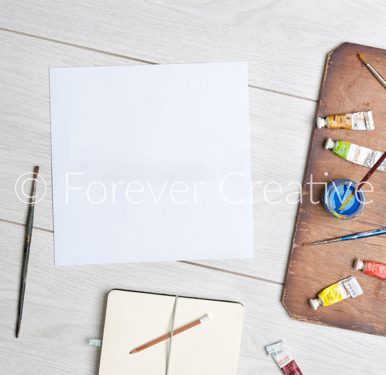 Stock photography ready for artist to superimpose their work with arts based props