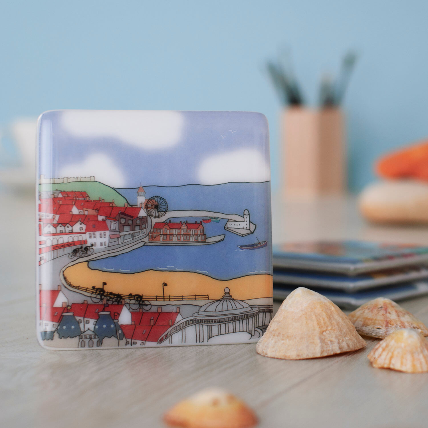 Glass coaster photography in sea inspired theme Scarborough North Yorkshire