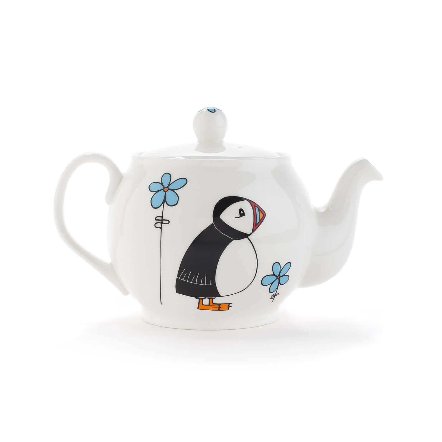 Ceramics white background photograph of a teapot by character designer Helen Russell Creations