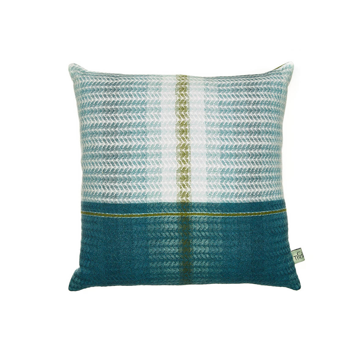 Designer cushion from Camilla Thomas photographed from above and on a white background