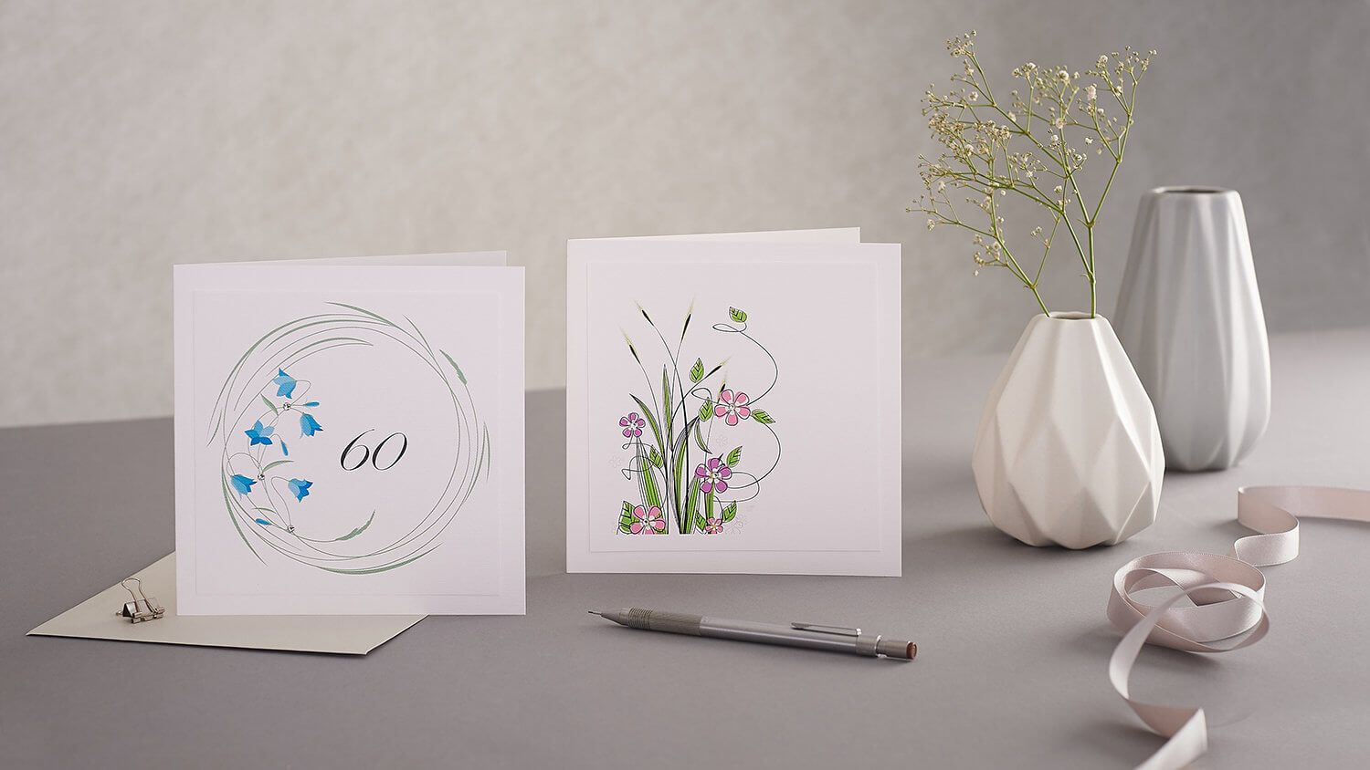 Contemporary styled greetings card group product photograph created for designer Mrs Lovesy