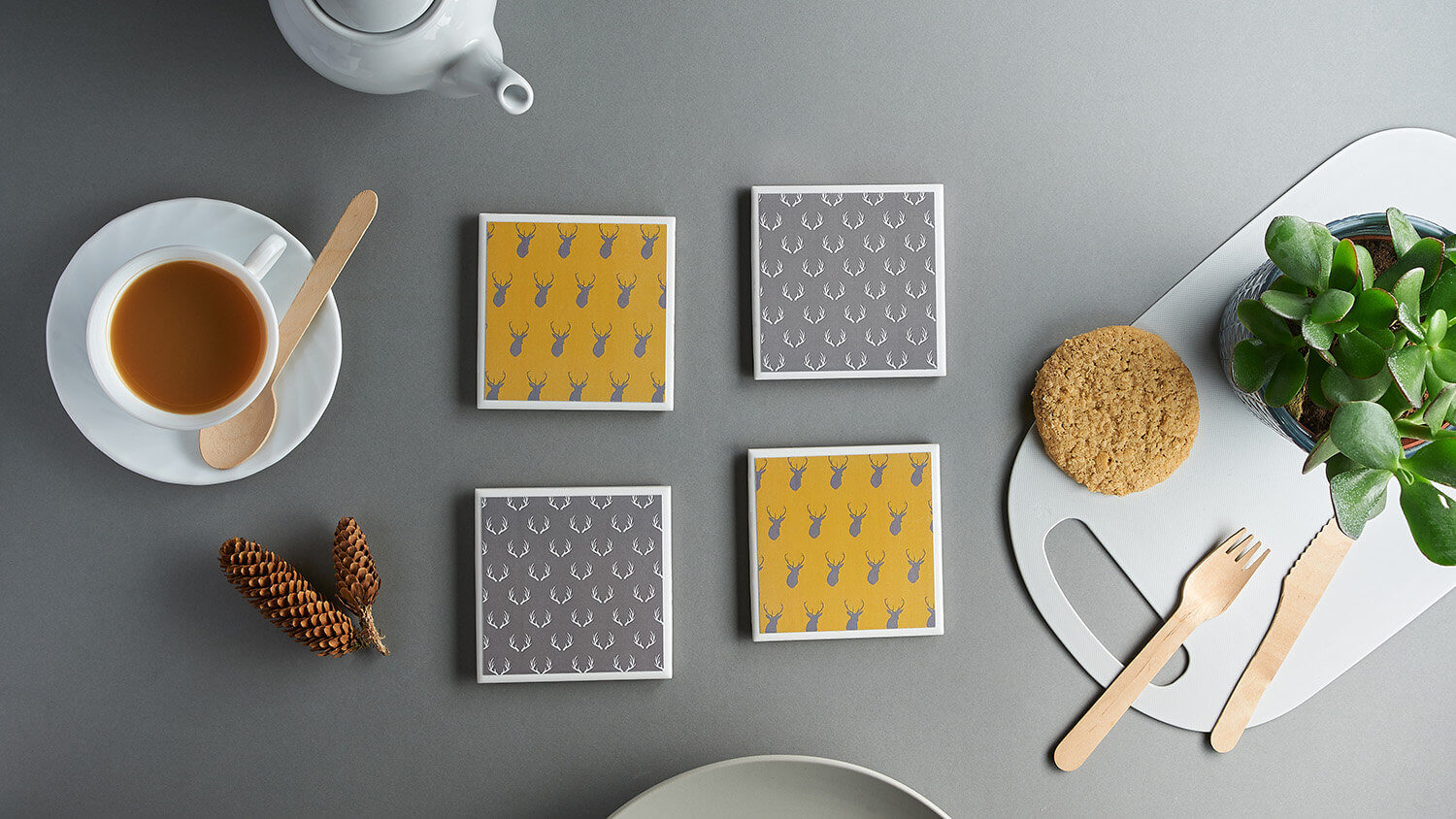 Flatlay overhead gradient lit product photograph of country style coasters