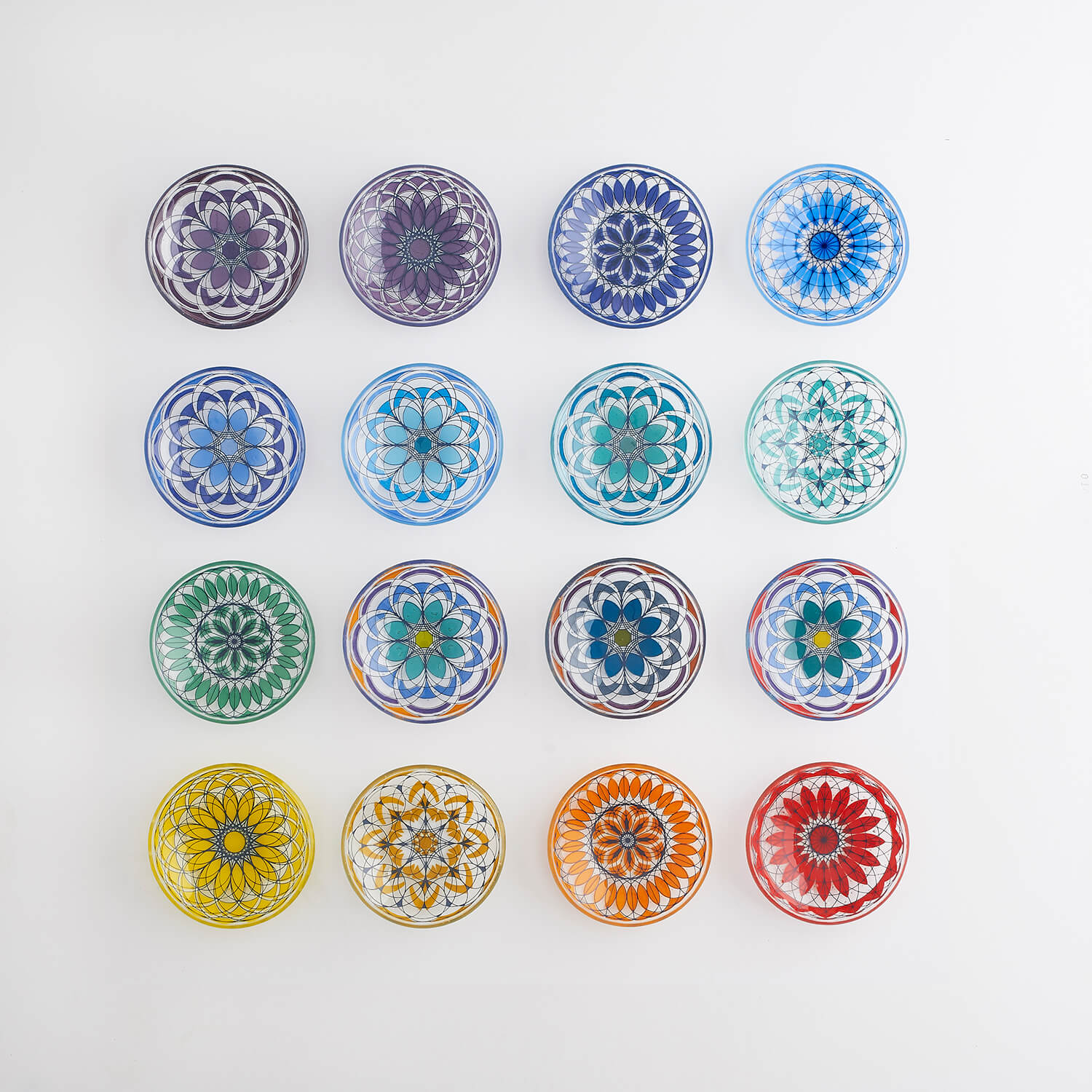 Geometric patterned glass bowls photographed in a symmetrical way