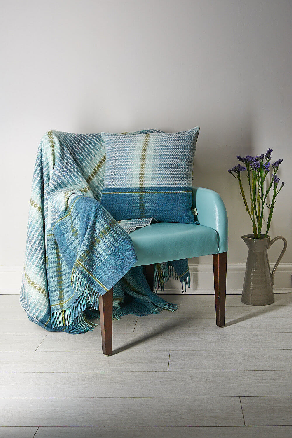 Camilla Thomas textiles throw photographed on clients chair