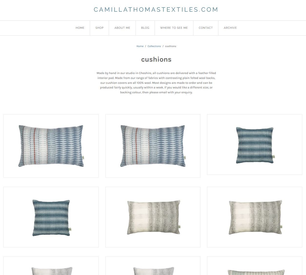 A screenshot from a clients website showing cutout white background images of cushions