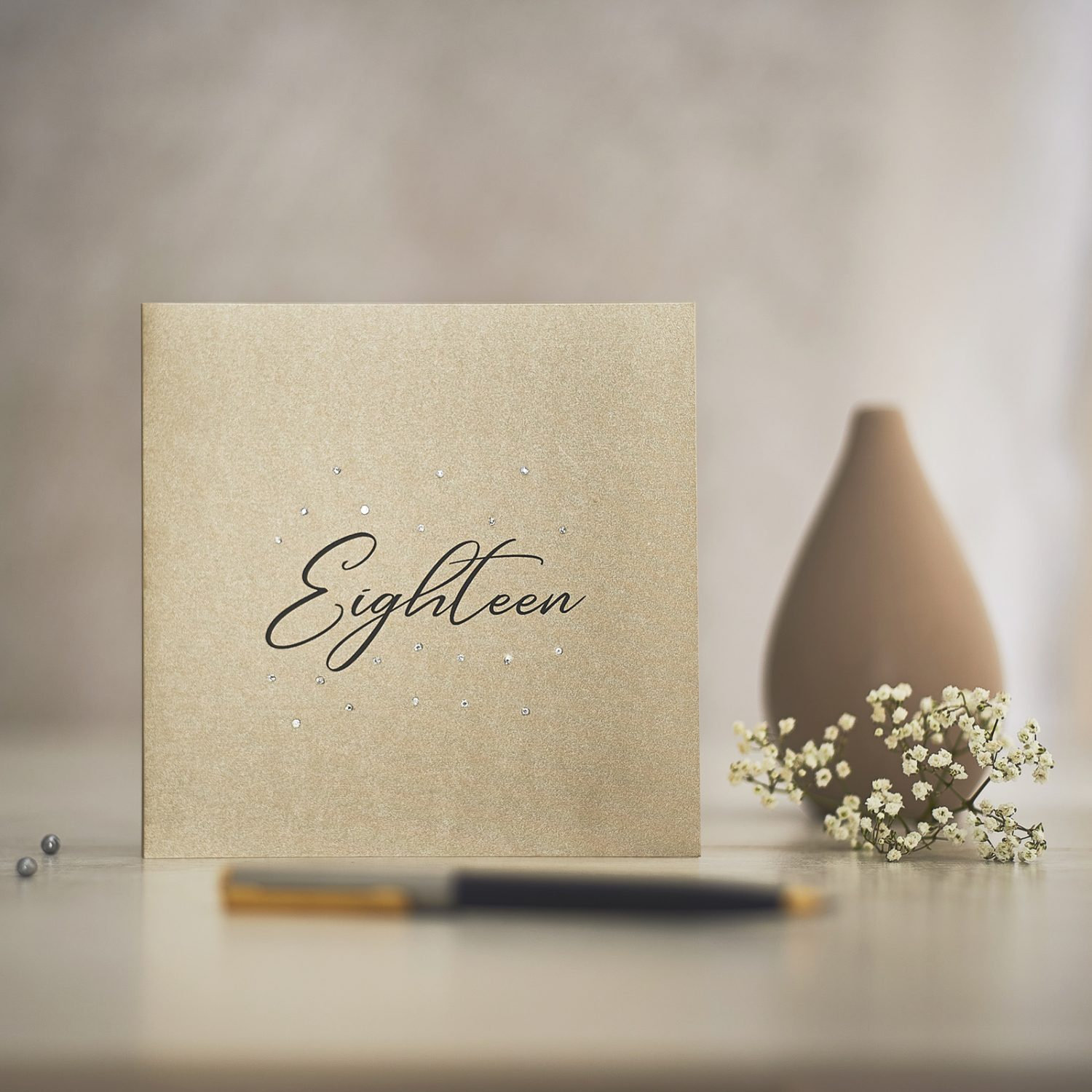 A professional product photograph of a eighteen celebration card for designer Mrs Lovesy