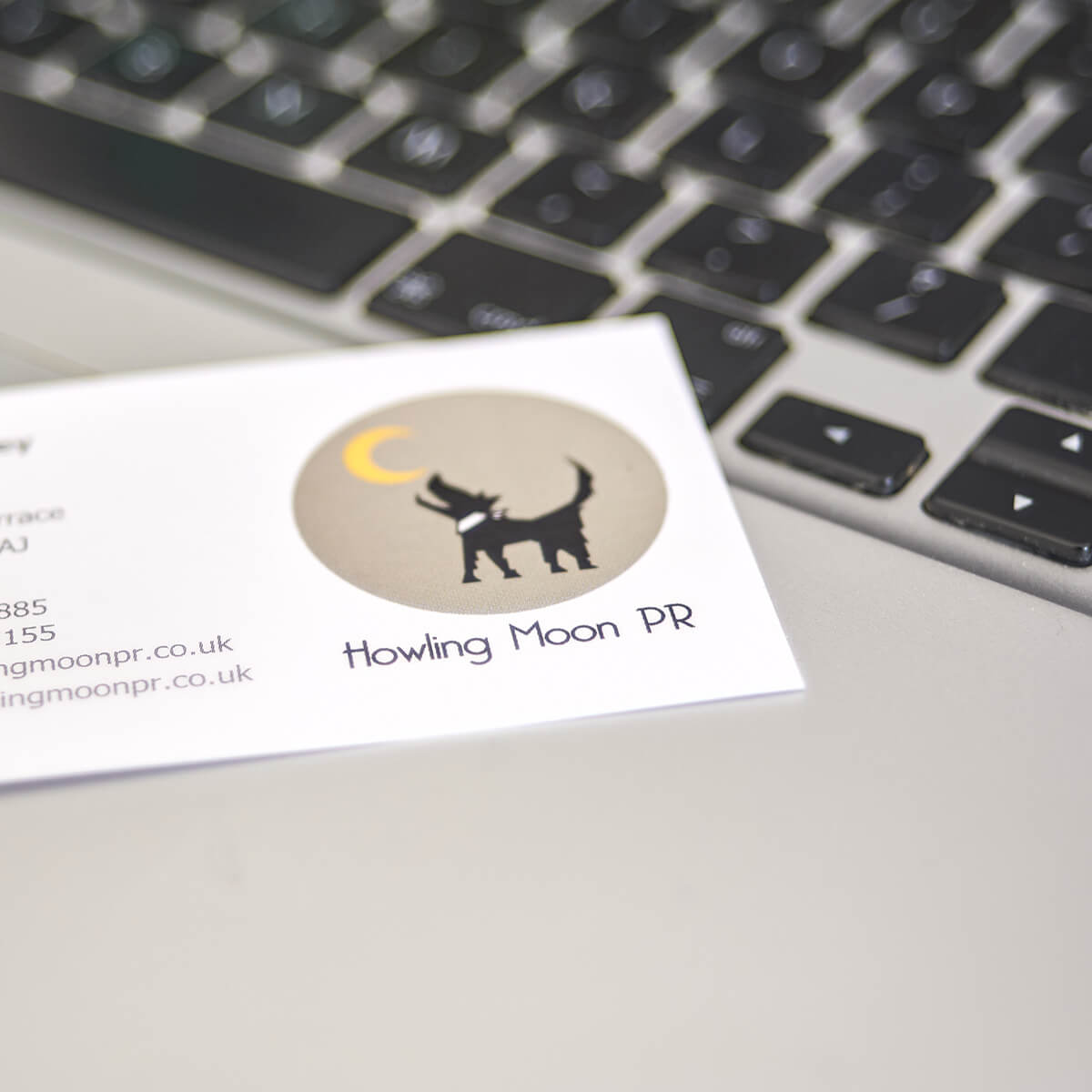 Howling Moon PR business card for their guest blog entry
