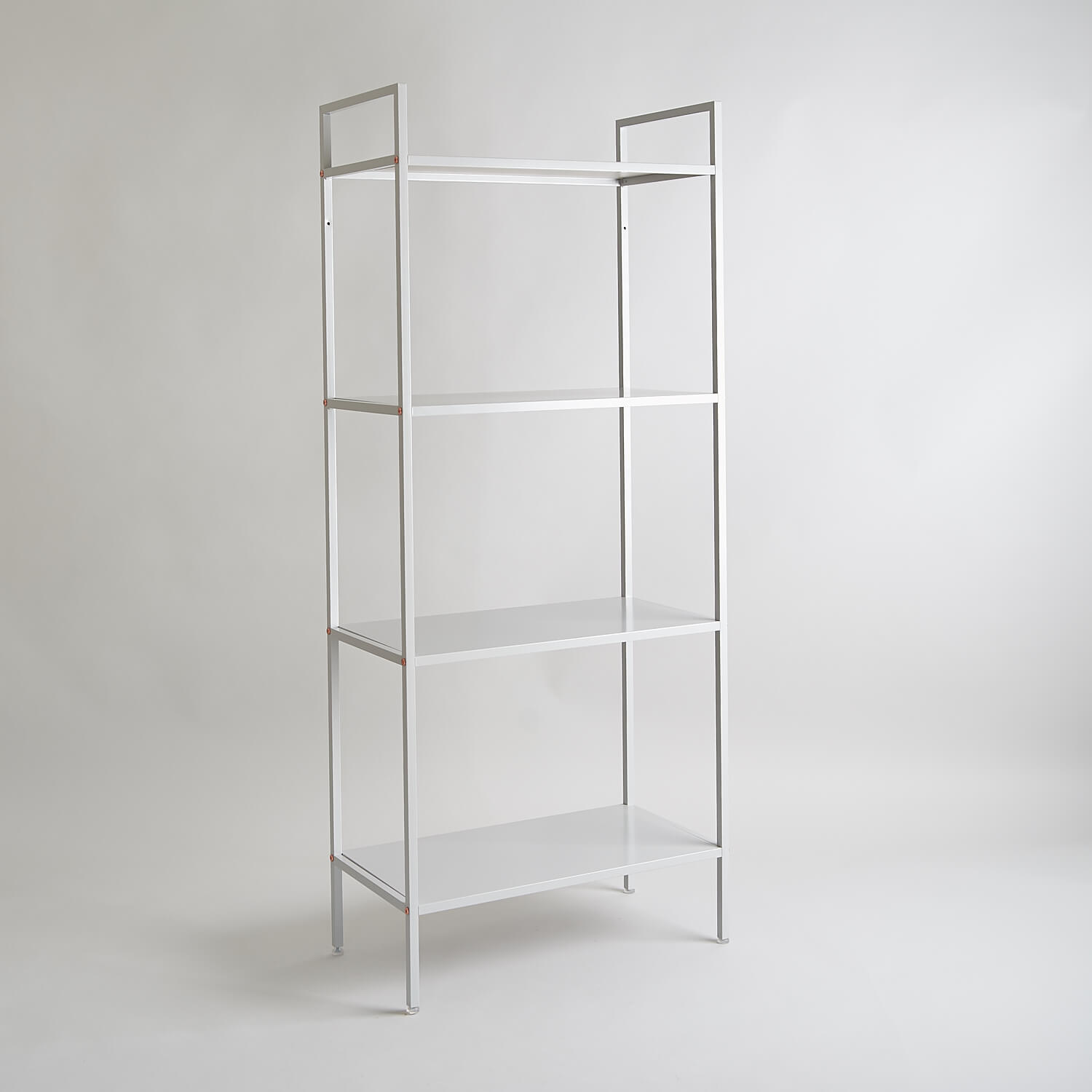 Contemporary grey metal shelving unit part of the studio furniture set