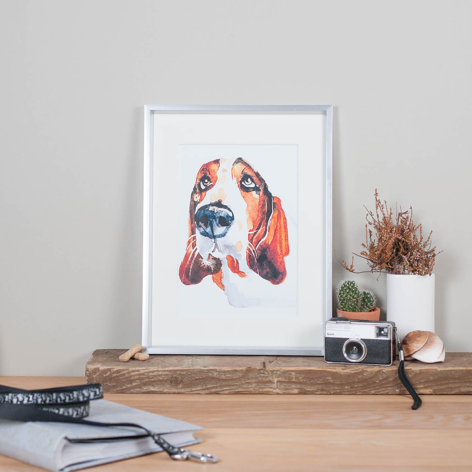 Dog portrait by pet artist Jo Scott Art photographed with rustic and vintage props