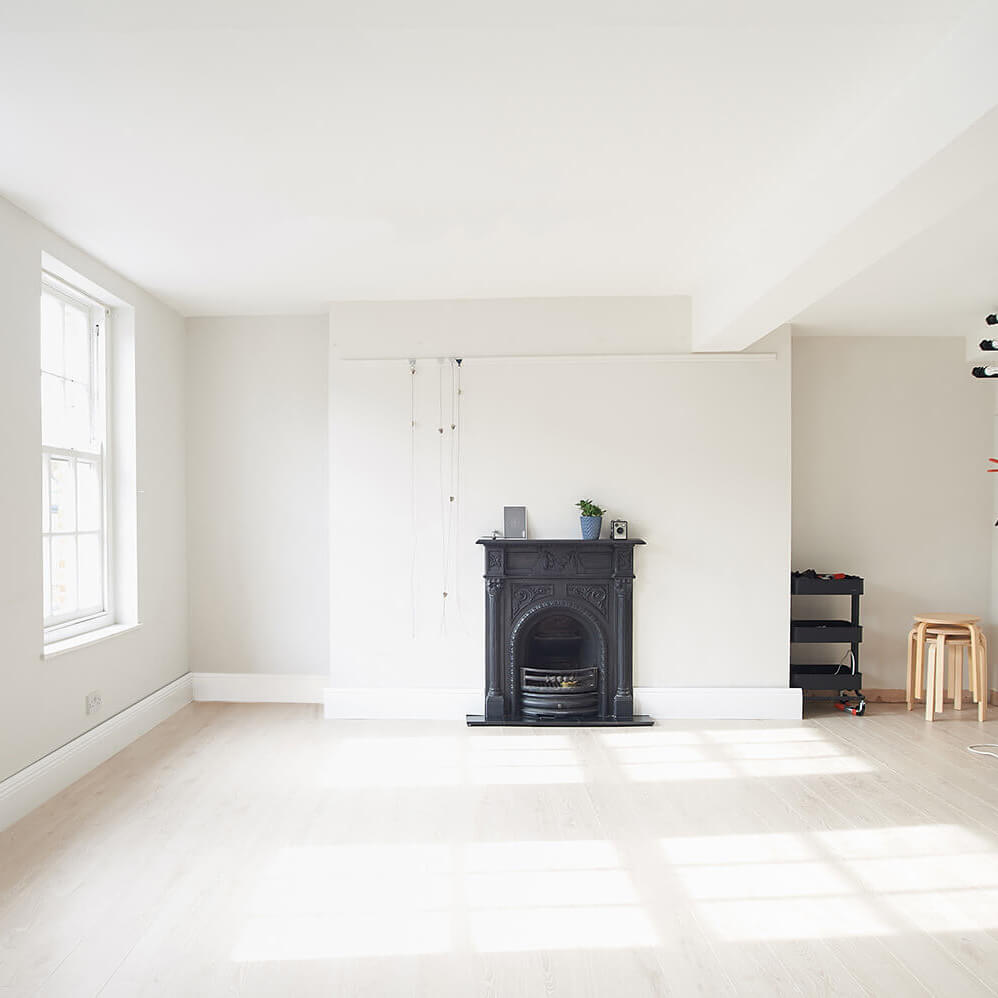 Tailored product photography studio complete with period features, cast iron fireplace, sash windows, period skirting and brand new floor
