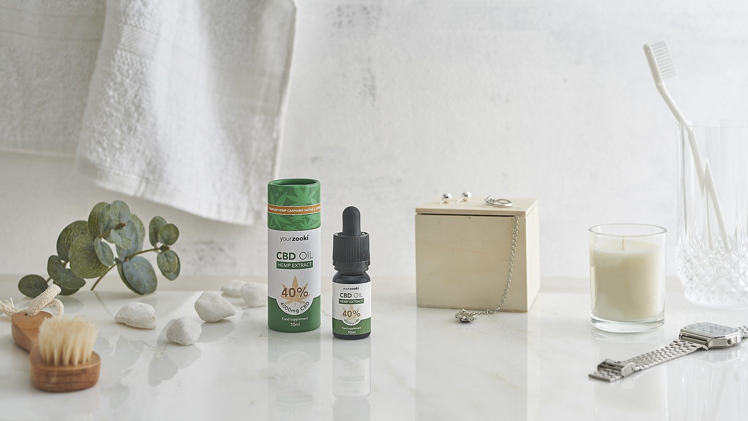 Lifestyle product photograph of a health supplement CBD oil apothecary