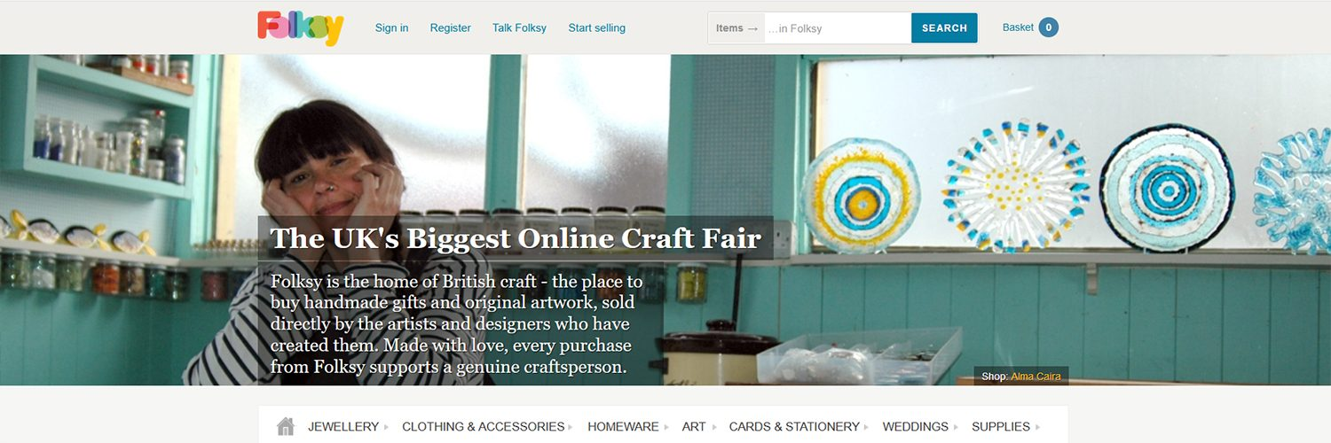 The Folksy website UK, screenshot showing a Folksy seller