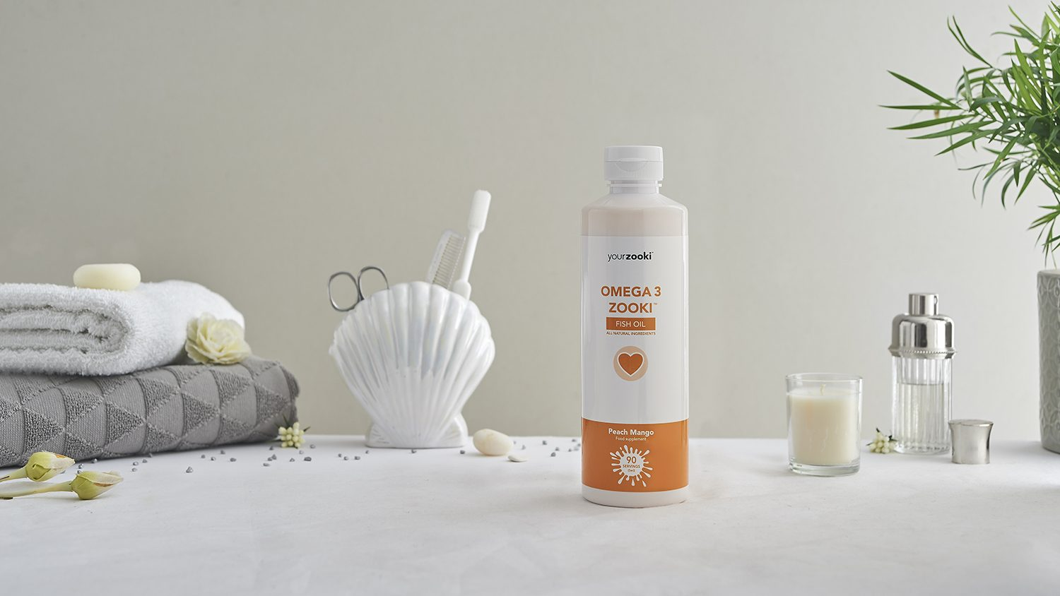 Apothecary product photograph vitamin C lifestyle setting