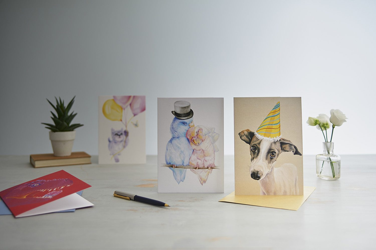 Styled group product photography of greetings card for designer Deckled Edge