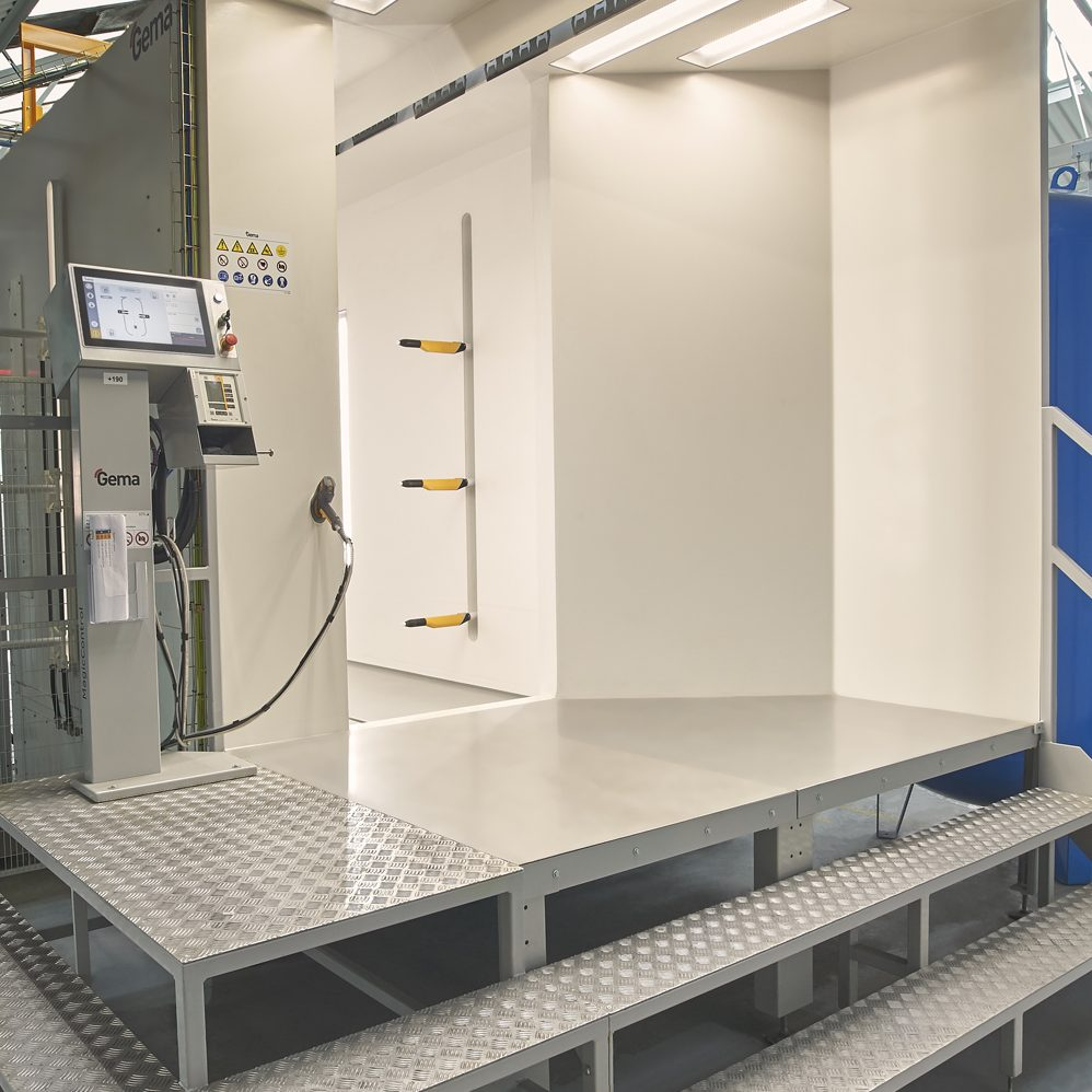 Paint spray booth at Schneider Electric in Scarborough commercial photography