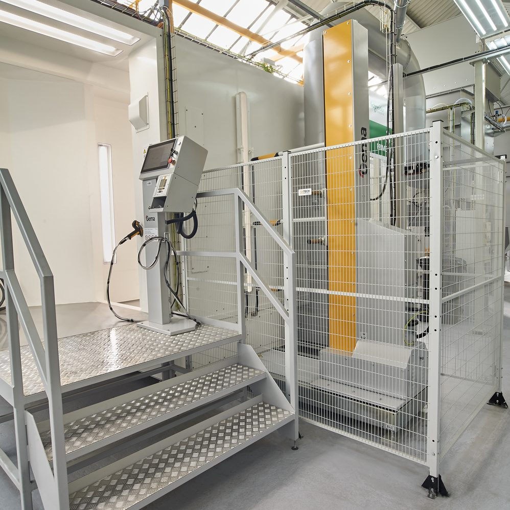 Industrial photograph of spray booth planted captured for Schneider Electric plant in Scarborough